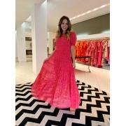 Vestido Mirella poá camadas Pink -