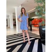 Vestido Monica listrado amarração e decote rebatido Azul -