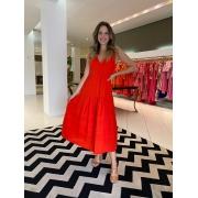 Vestido Natália linho c/ pregas Vermelho -