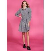 Vestido vichy c/ recortes 3 Marias Preto -