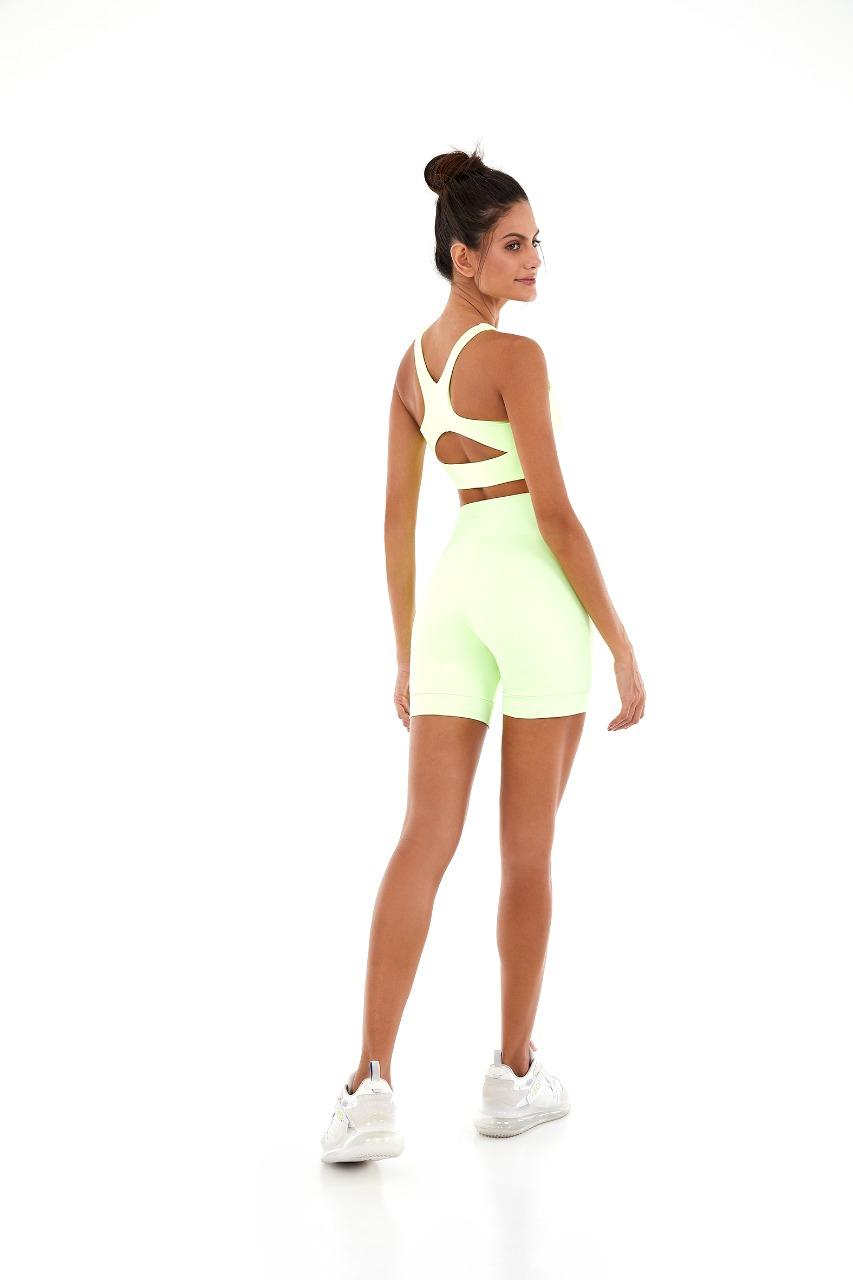 Bermuda mini blackout silk Amarelinho Lime -