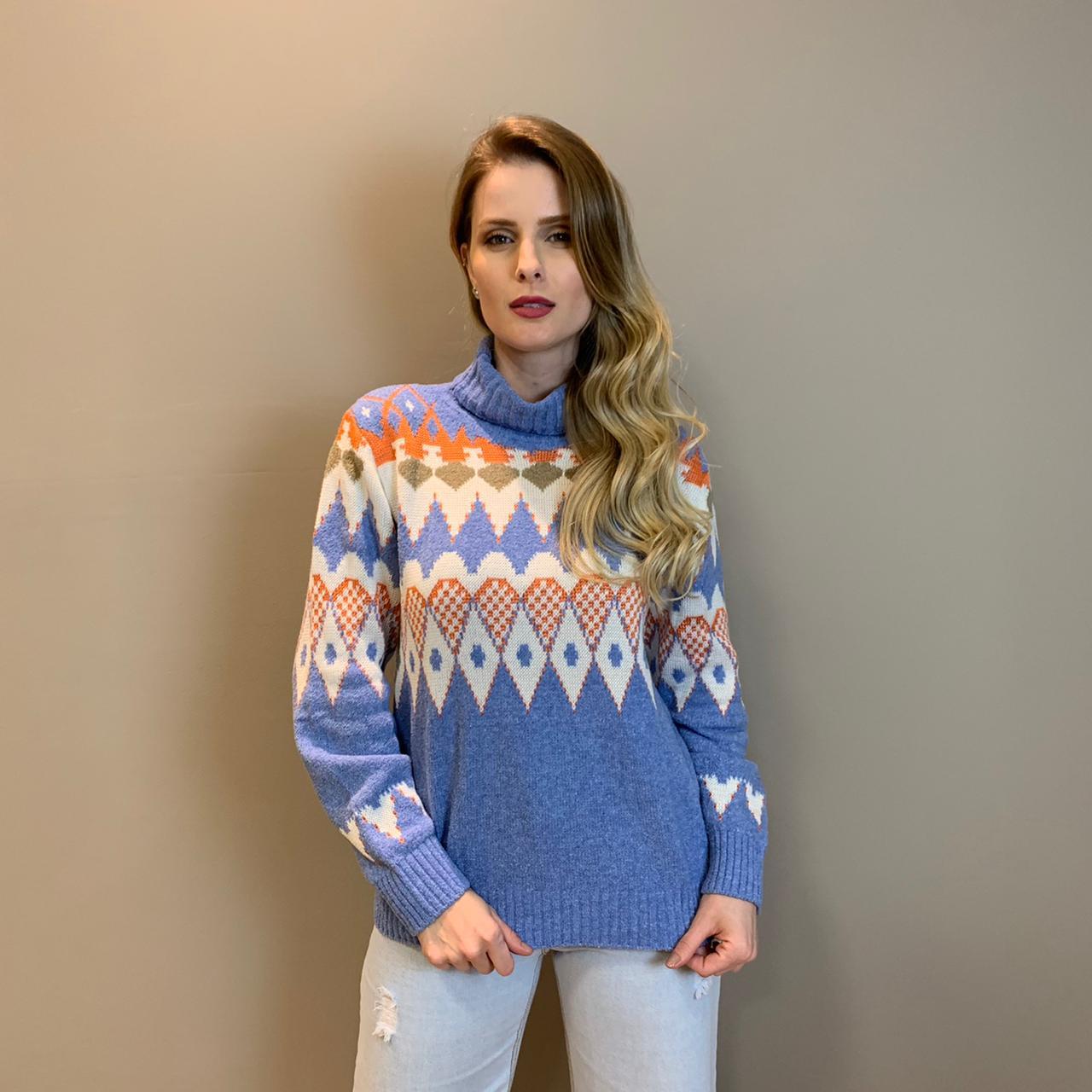 Blusa trico gola Azul -