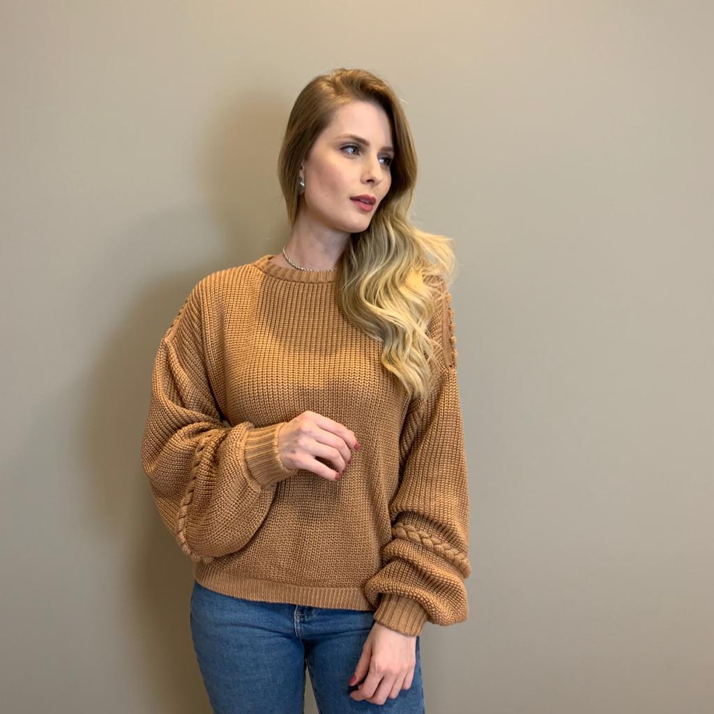 Blusa trico trança Marrom -