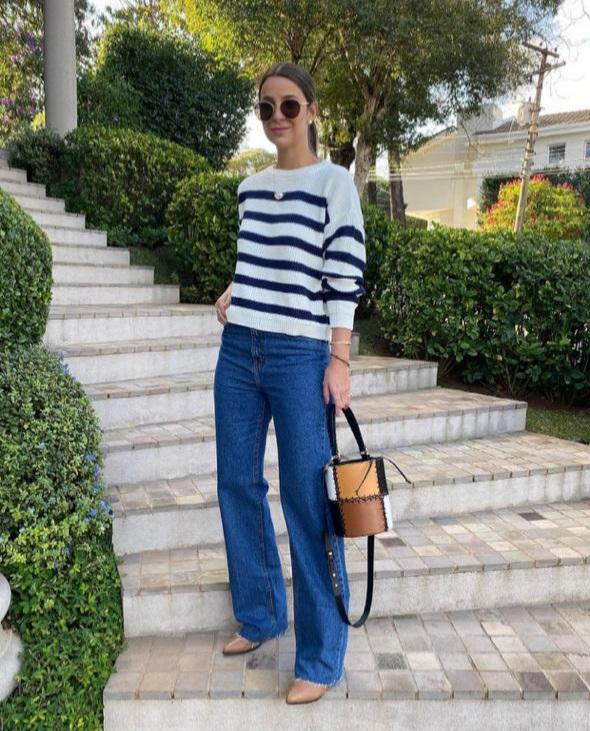 Blusa tricot bicolor Azul marinho -