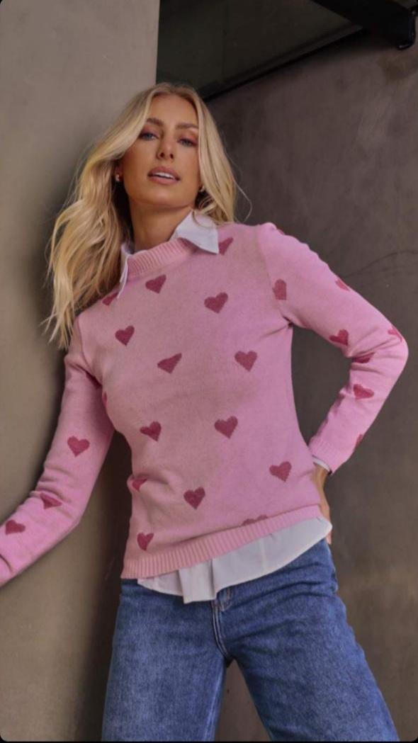 Blusa tricot corações Rosa -