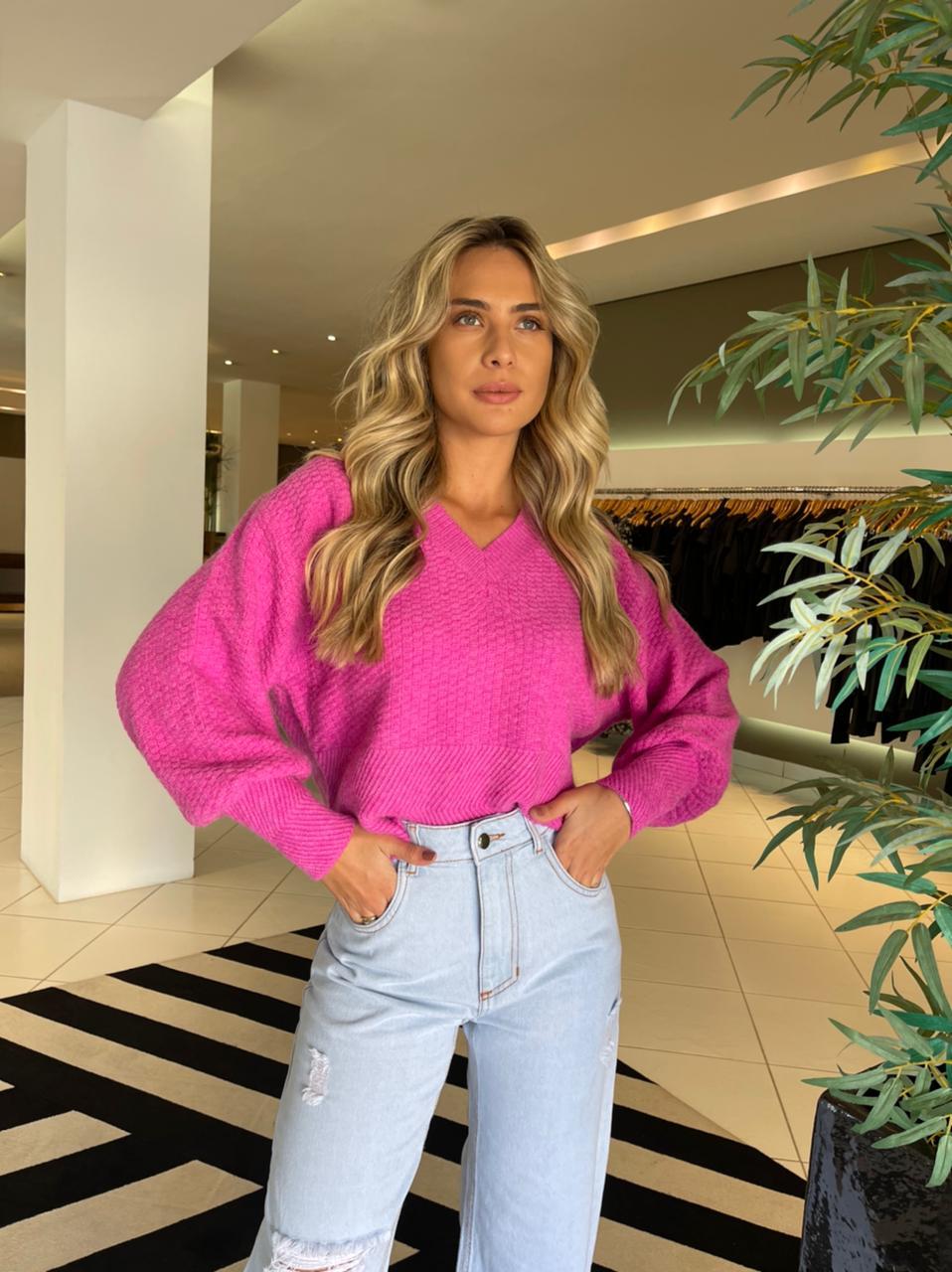 Blusa tricot gola V encorpado Pink -