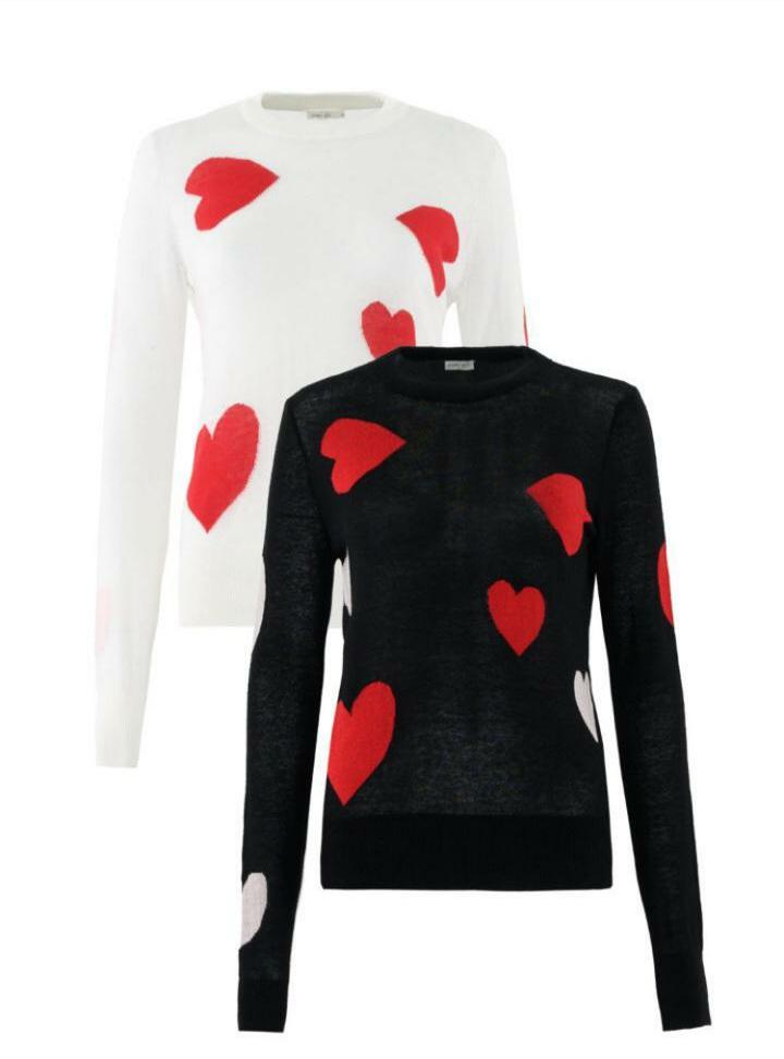 Blusa tricot m/l coração Preto -