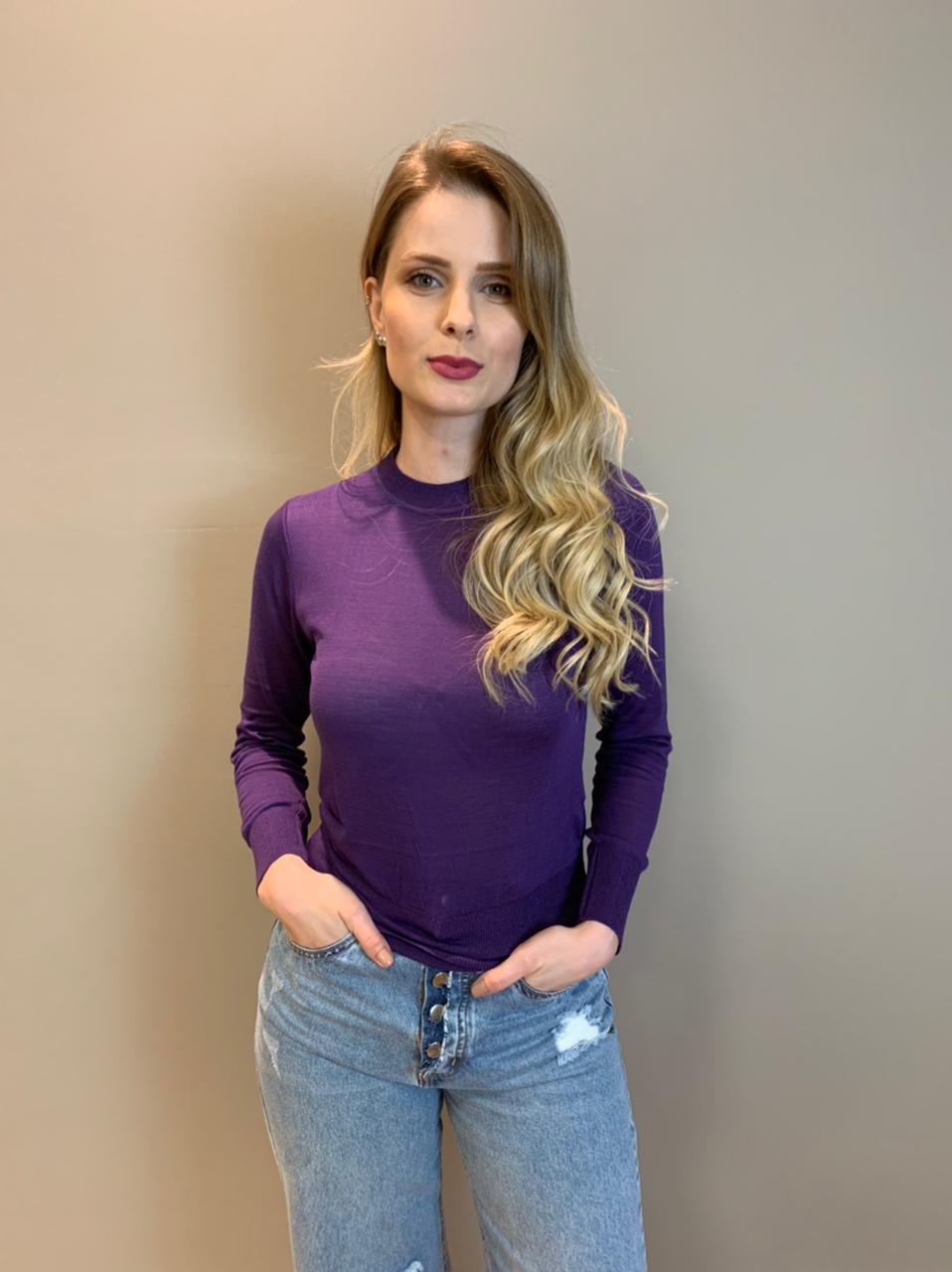 Blusa tricot mg lg básica Roxo -