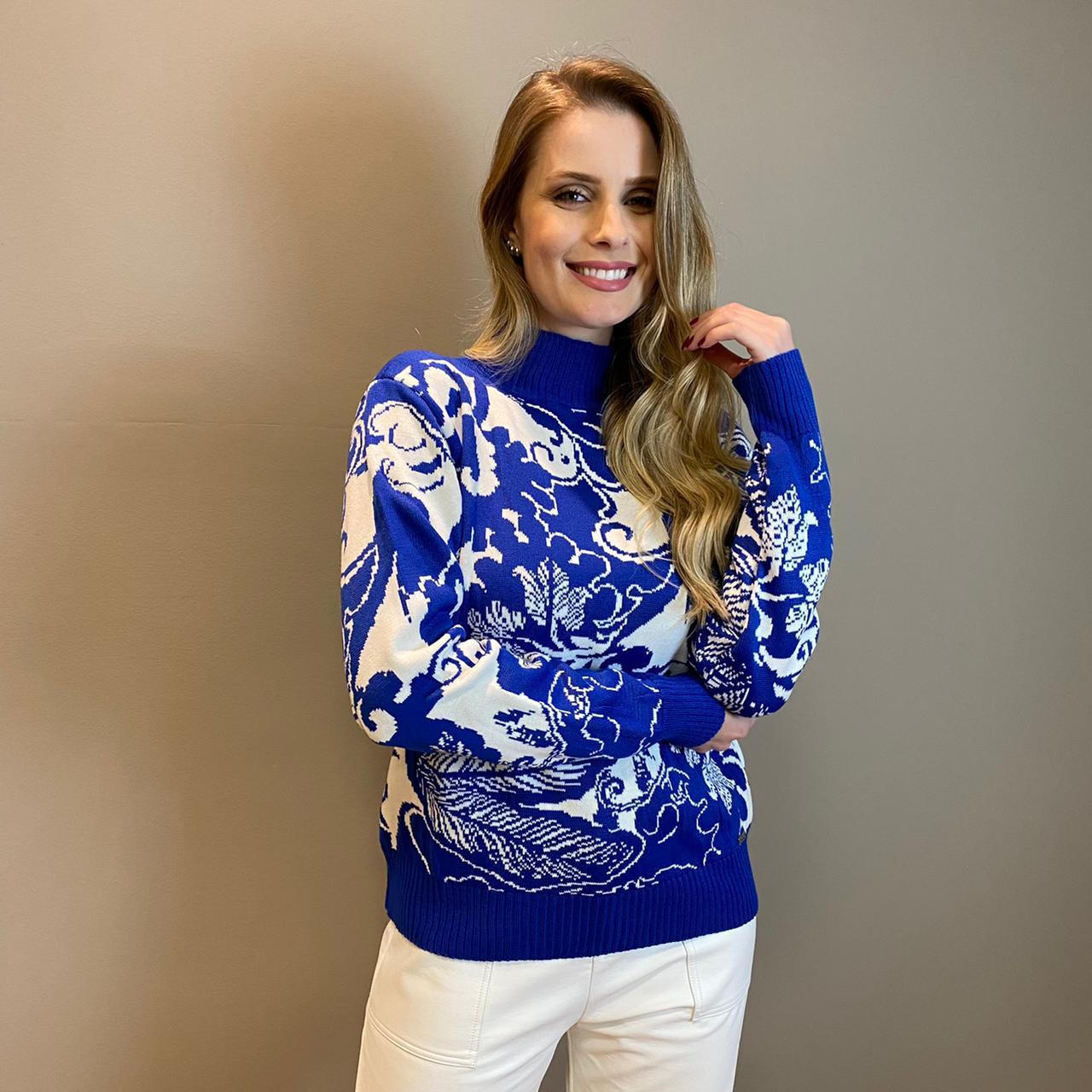 Blusa tricot Trancoso Jacquard Azul -