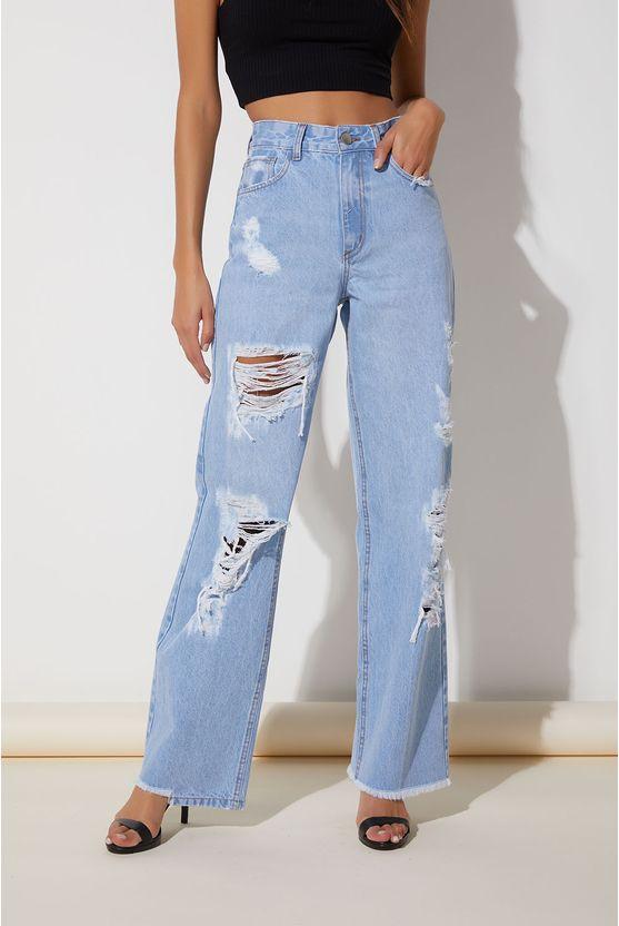 Calça jeans c/ rasgos na perna Azul -
