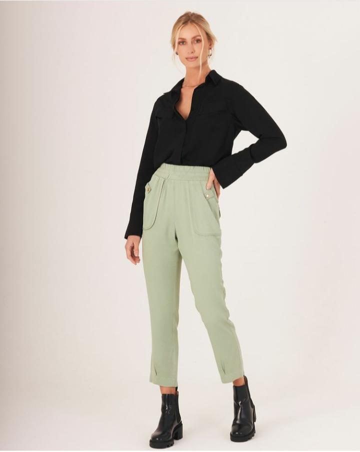 Calça twill bolsos Verde -