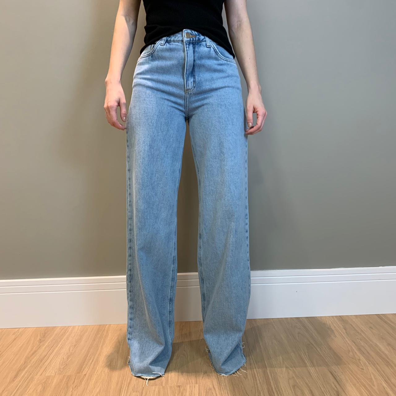Calça wide long clara Azul-