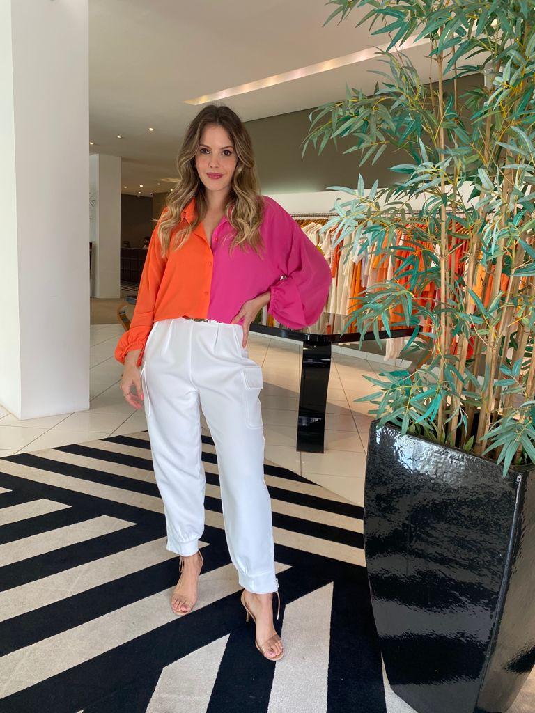 Camisa bicolor amarração Laranja/pink -