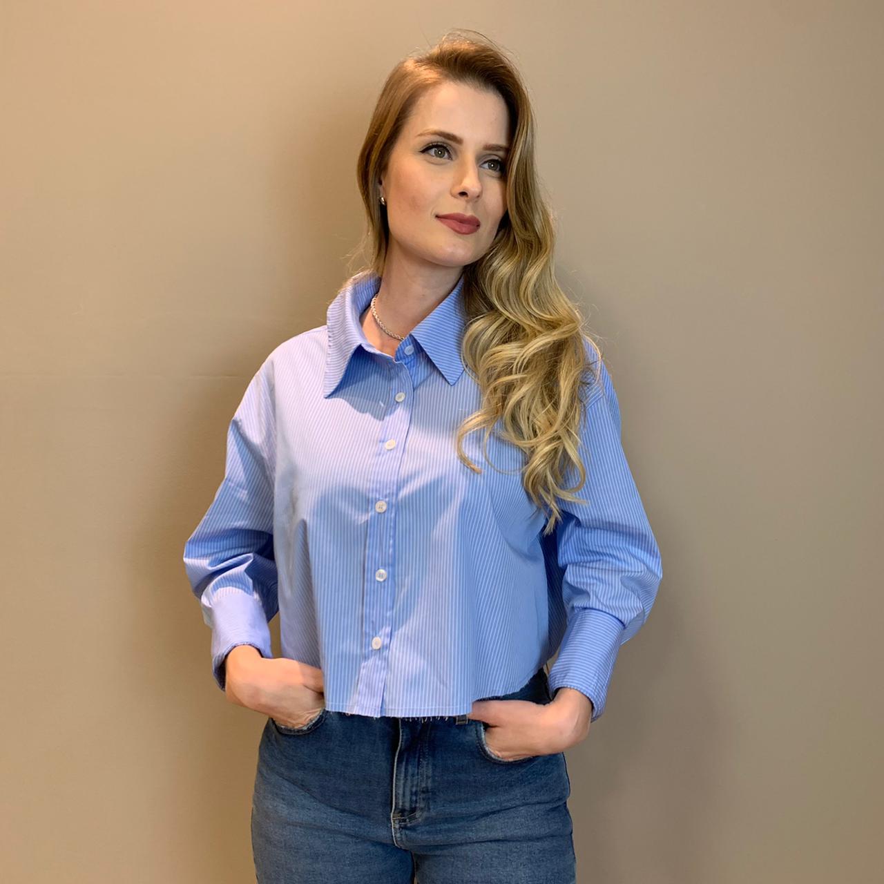 Camisa cropped listras kyo Azul -