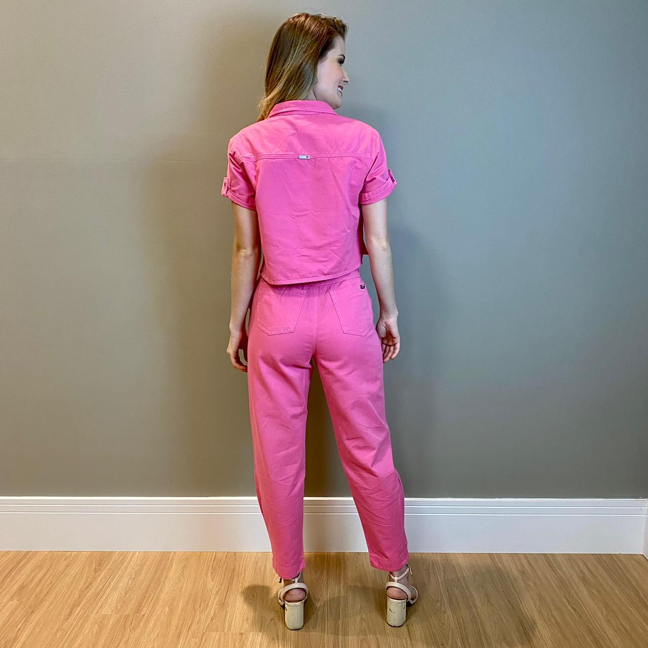 Camisa cropped Maisa Azalea Pink-