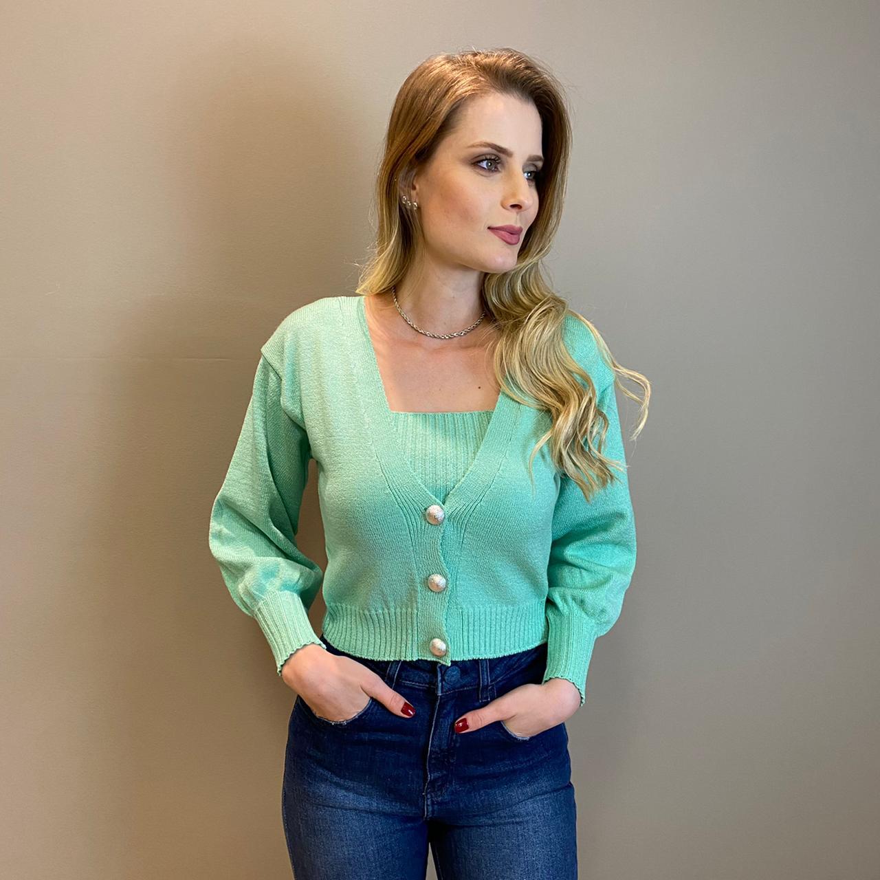 Cardigan tricot liso chic Verde Água -