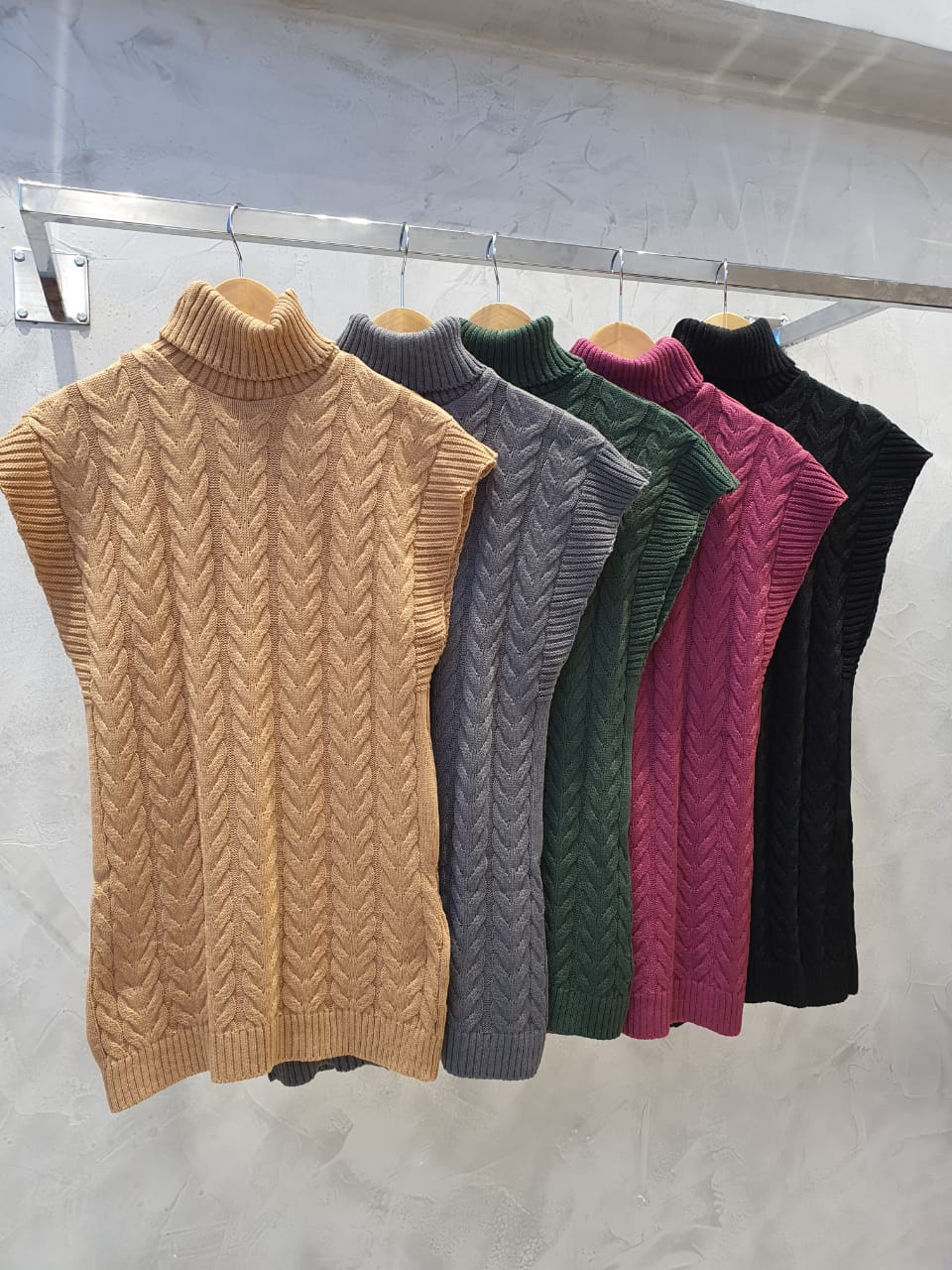 Colete trança trico Preto -