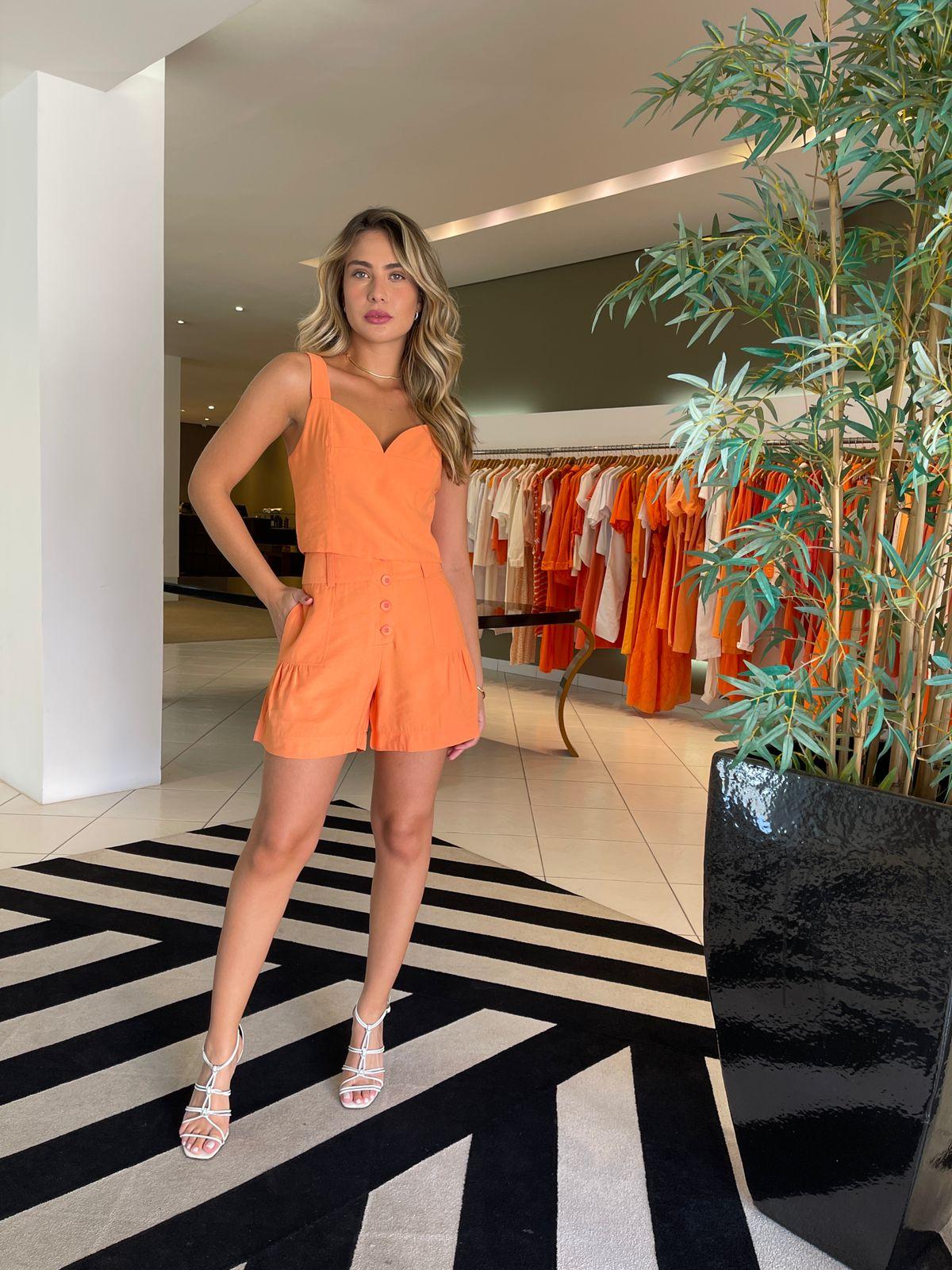Conj. blusa cropped shorts botões Laranja -