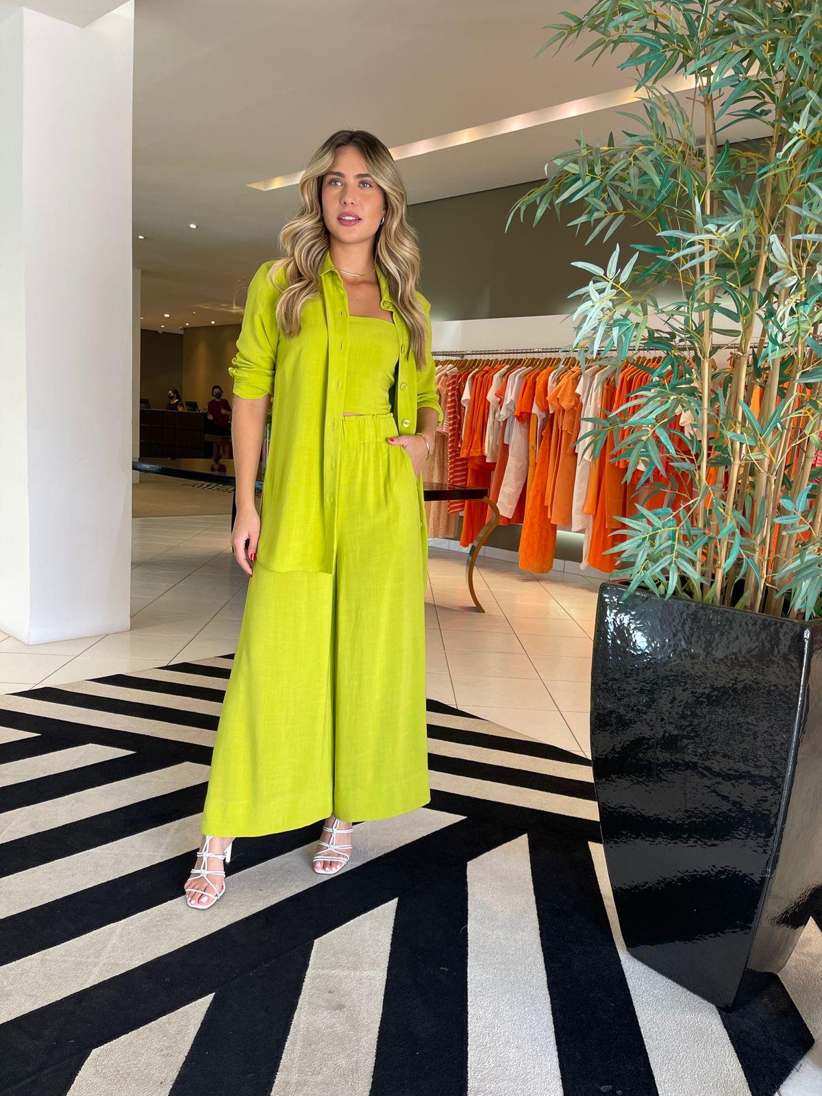 Conj. camisão top e calça Verde -
