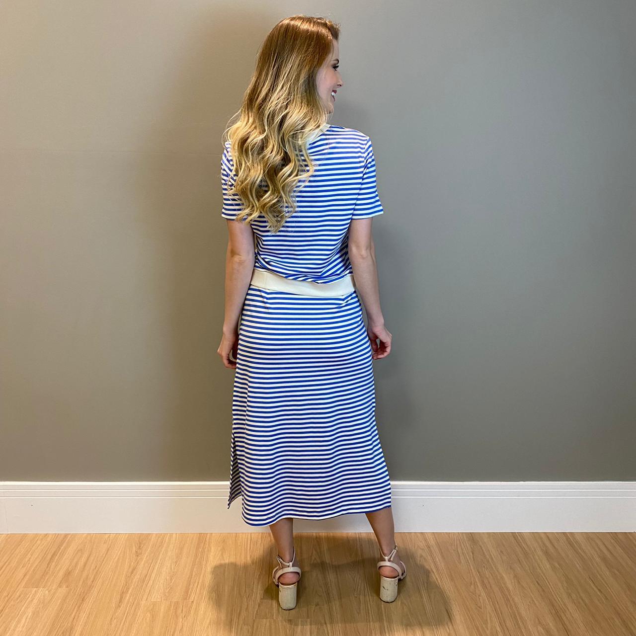 Conj. listrado blusa e saia Azul -