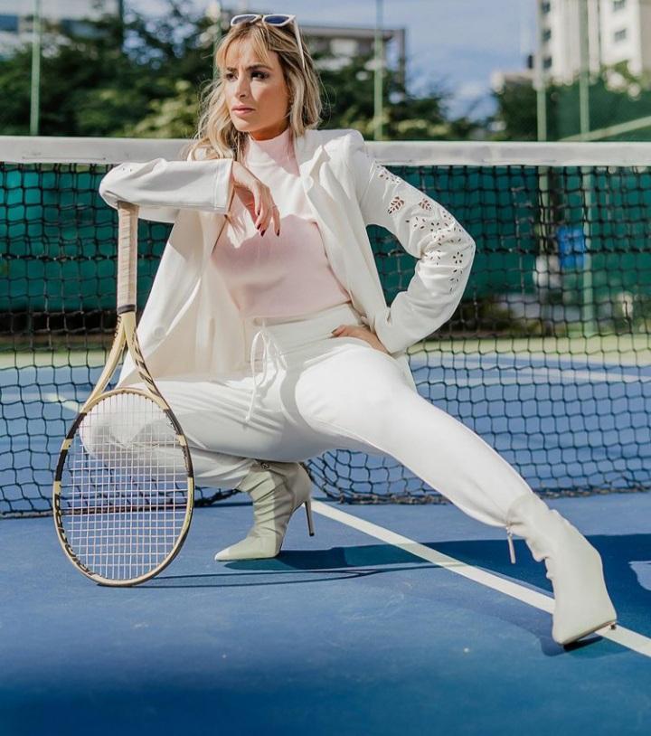 Conjunto blazer e calça jogger moletom Off White -