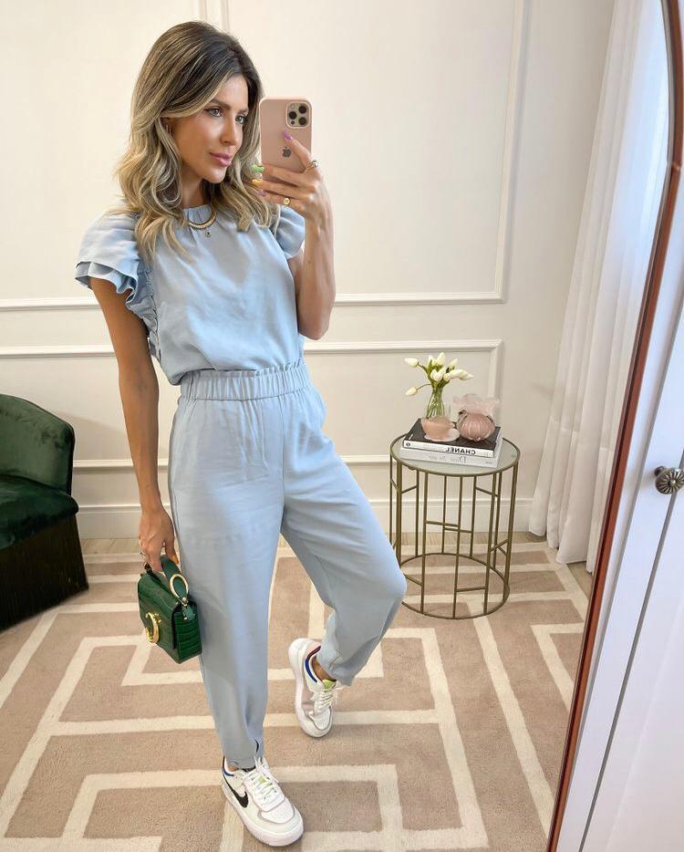 Conjunto blusa c/ babado e calça punho Azul -