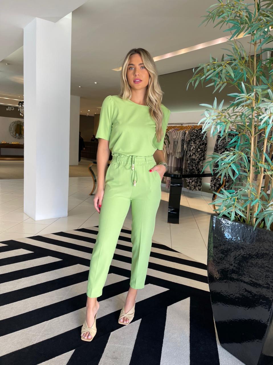 Conjunto blusa e calça c/ elastico Verde -