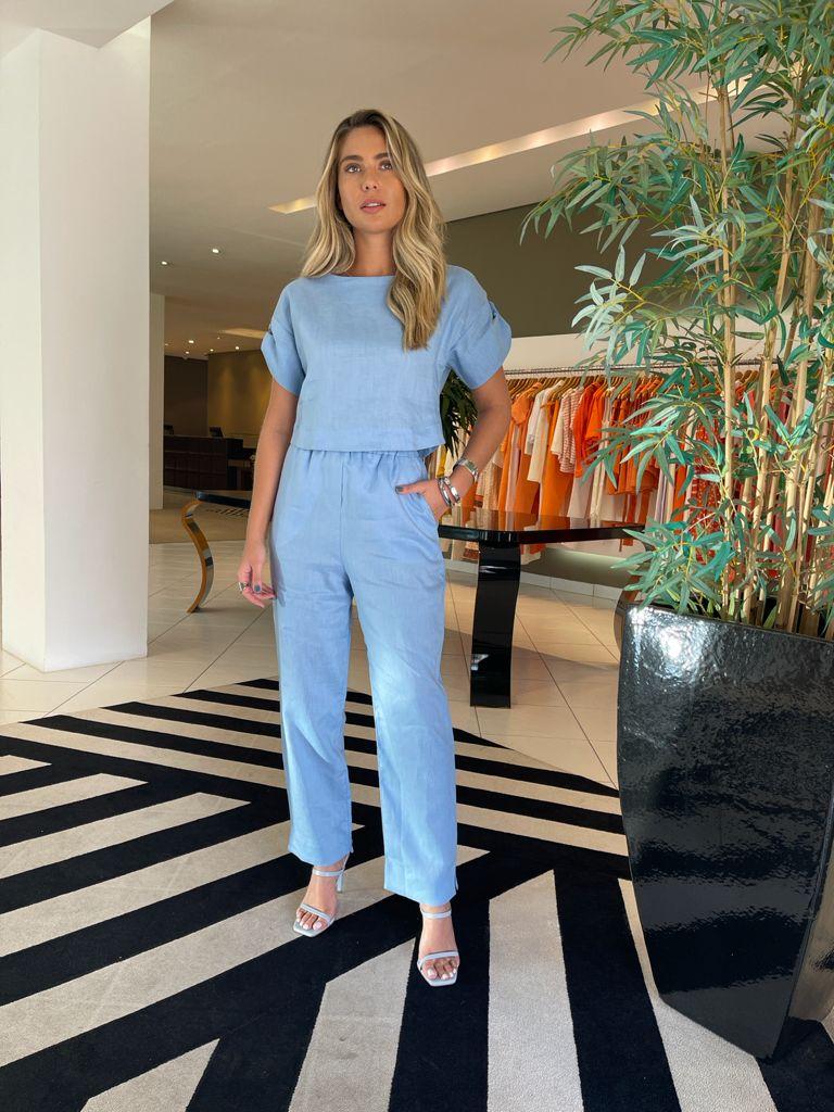 Conjunto blusa e calça linho natural Azul -