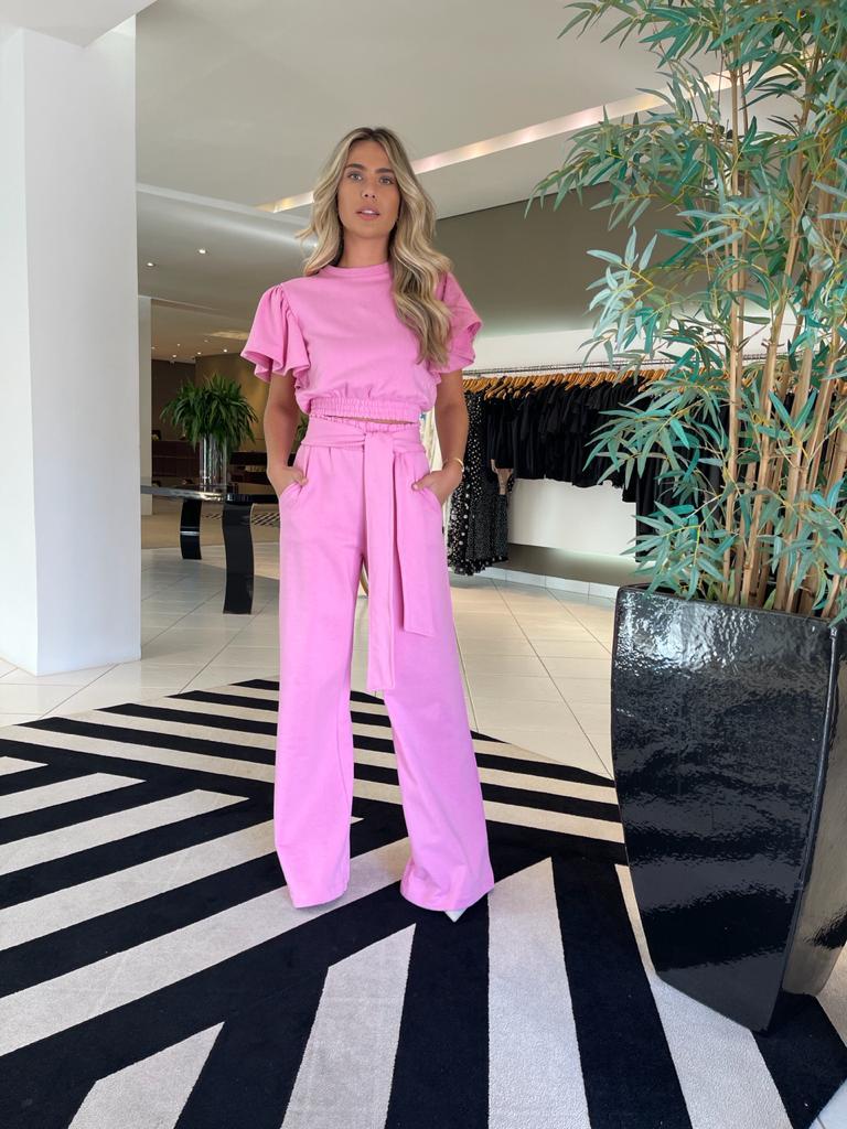 Conjunto blusa e calça pantalona moletom Rosa -