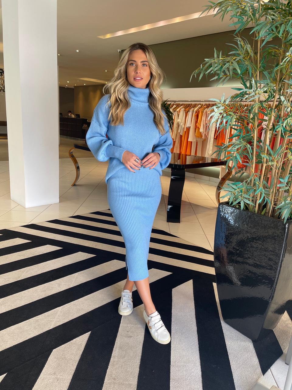 Conjunto blusa e saia tricot Azul -