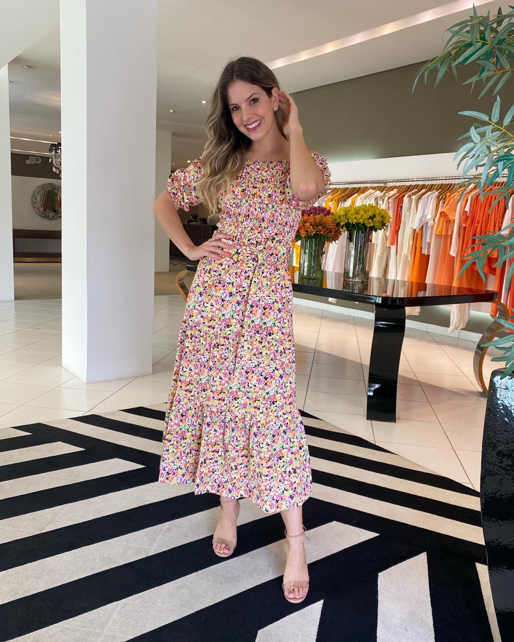 Conjunto blusa elastex saia midi liberty Flores -
