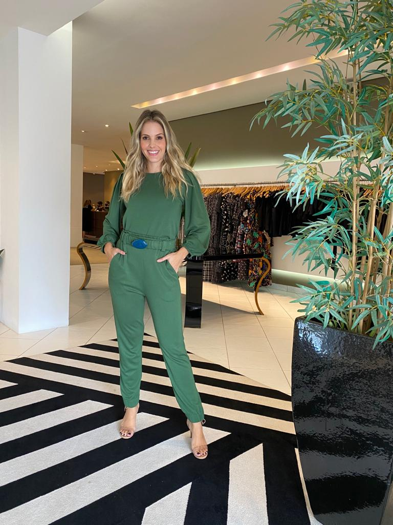 Conjunto blusa mg longa calça malha Verde -