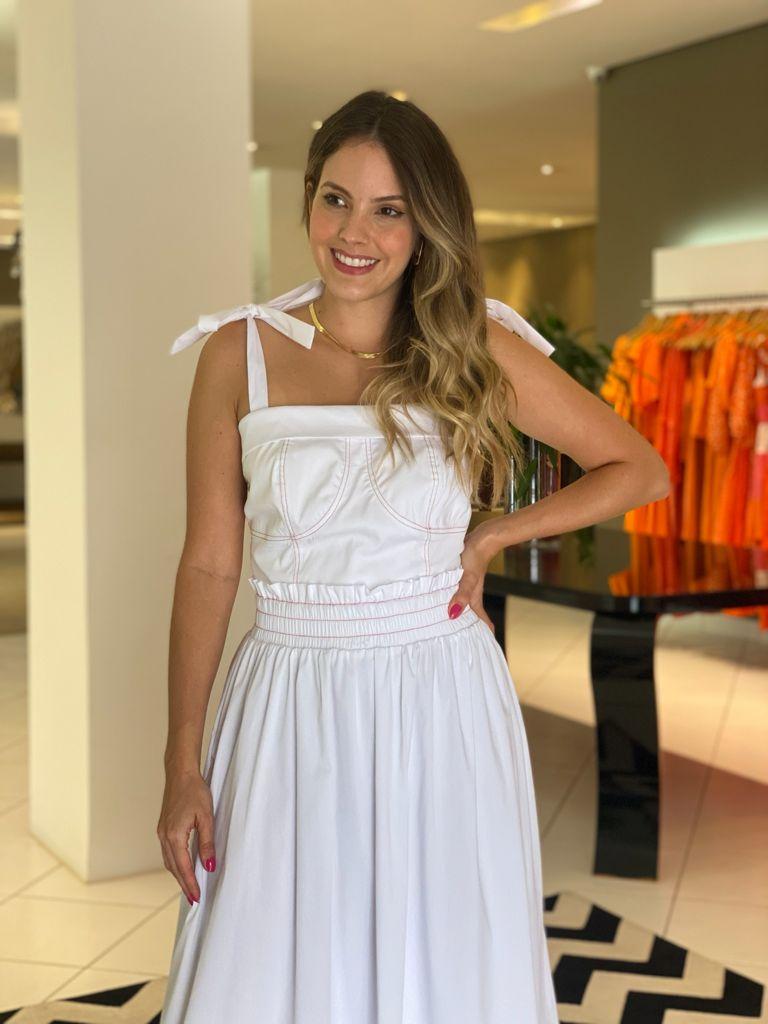 Conjunto Catarina ( top e saia) Branco -