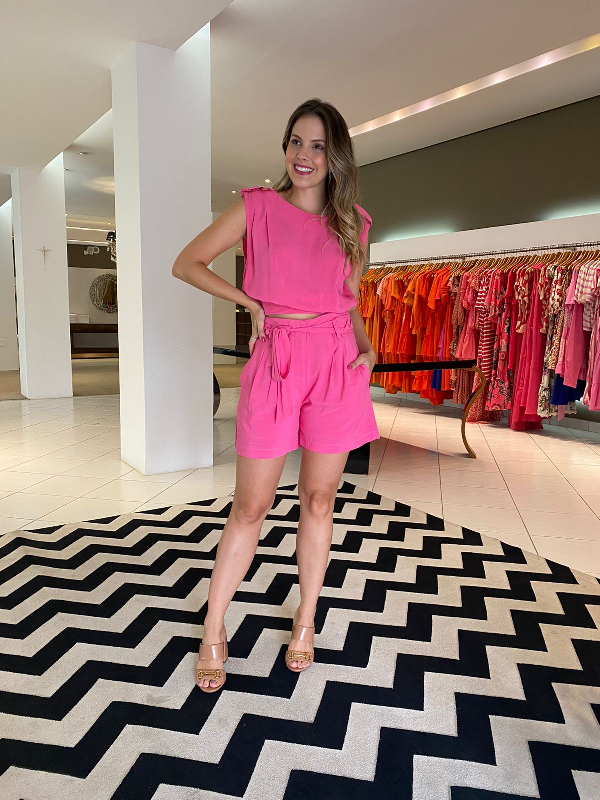 Conjunto Isadora regata e shorts Pink -