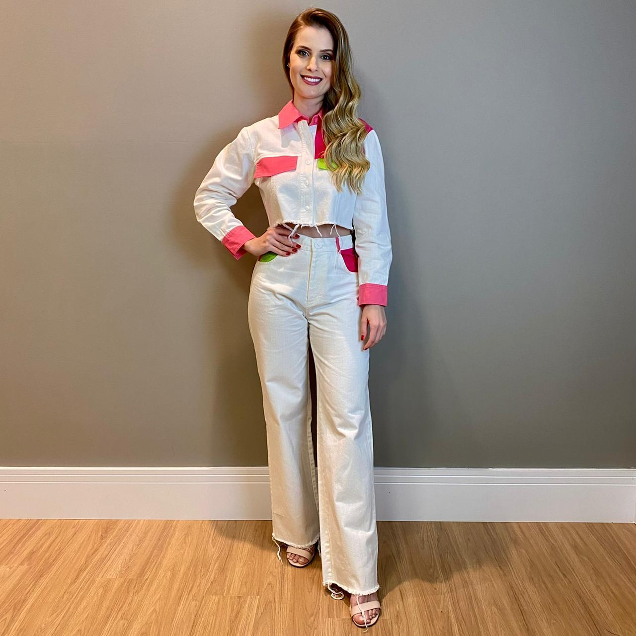 Conjunto jaqueta e calça color Branco -