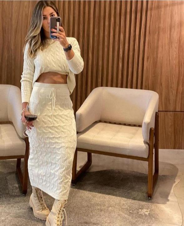 Conjunto tricot trança Off white -
