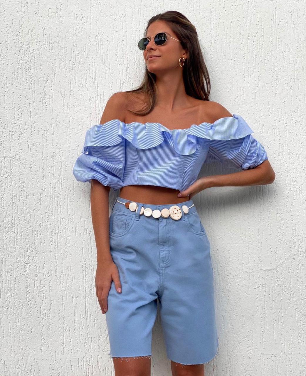 Cropped babado listras Azul -