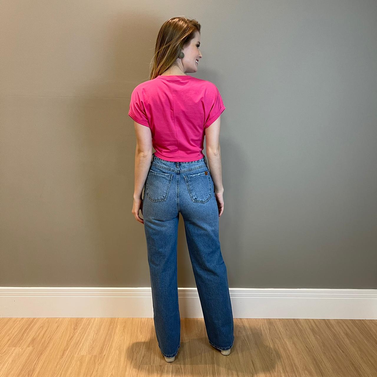 Cropped em malha c/ amarração Pink -