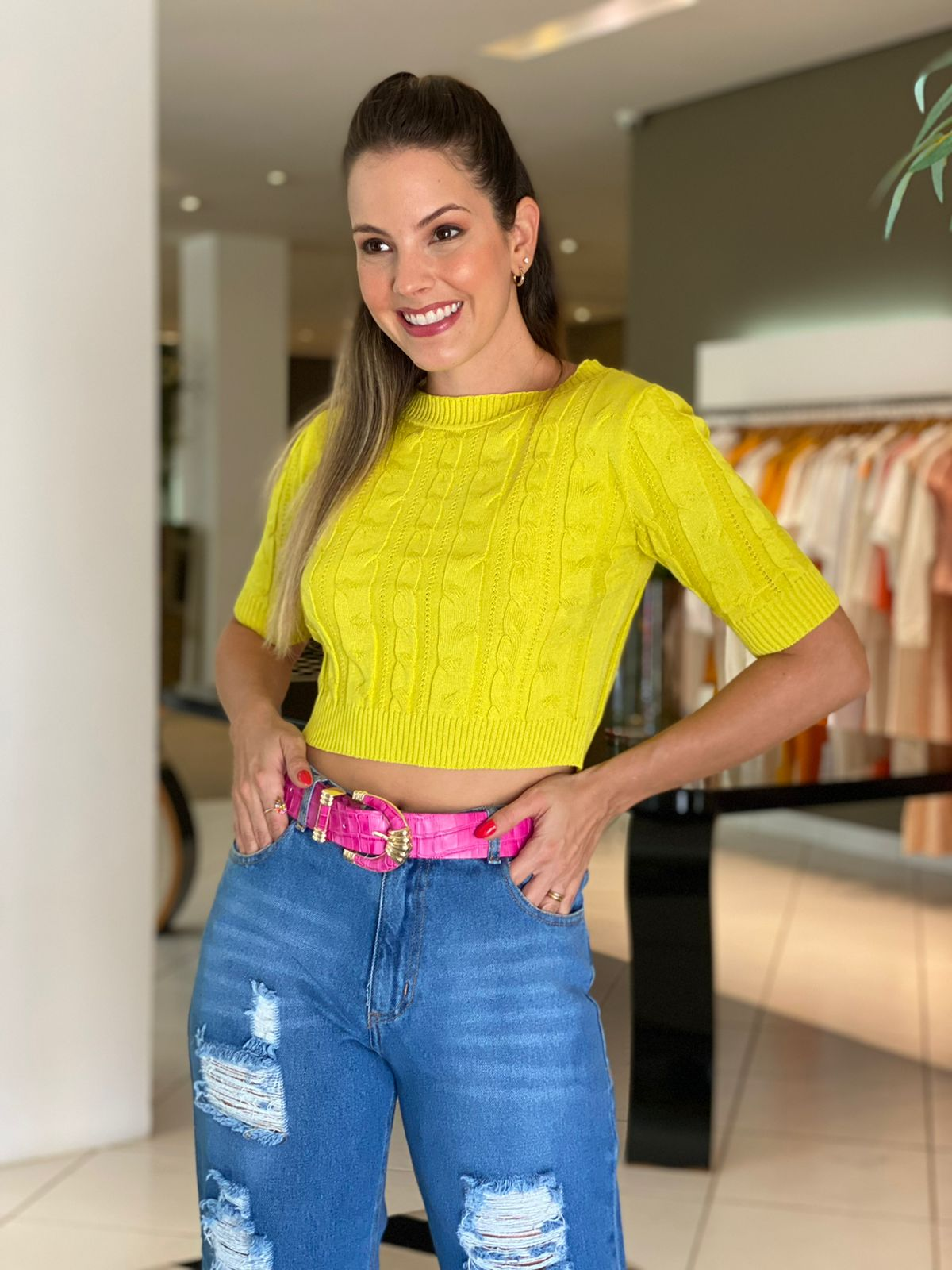 Cropped tricot tranças Monica Lima -