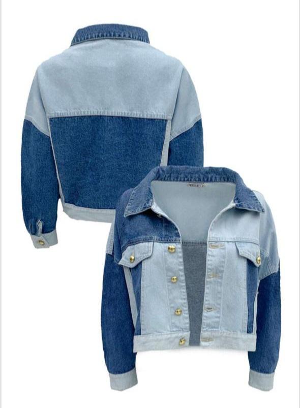 Jaqueta cropped jeans botões dourado Azul -
