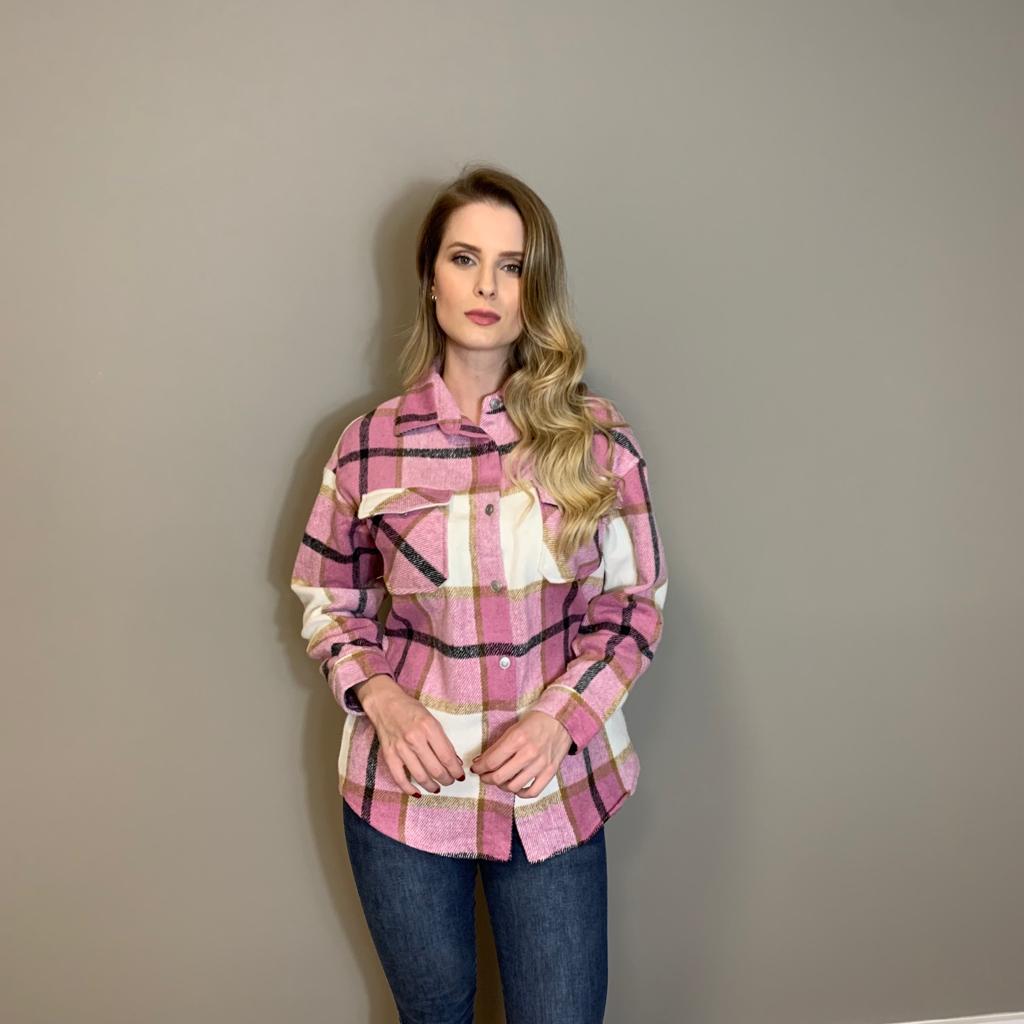 Jaqueta flanelada Rosa -