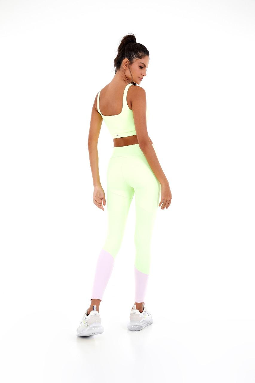 Legging blackout recortes assimetricos Amarelinho lime -