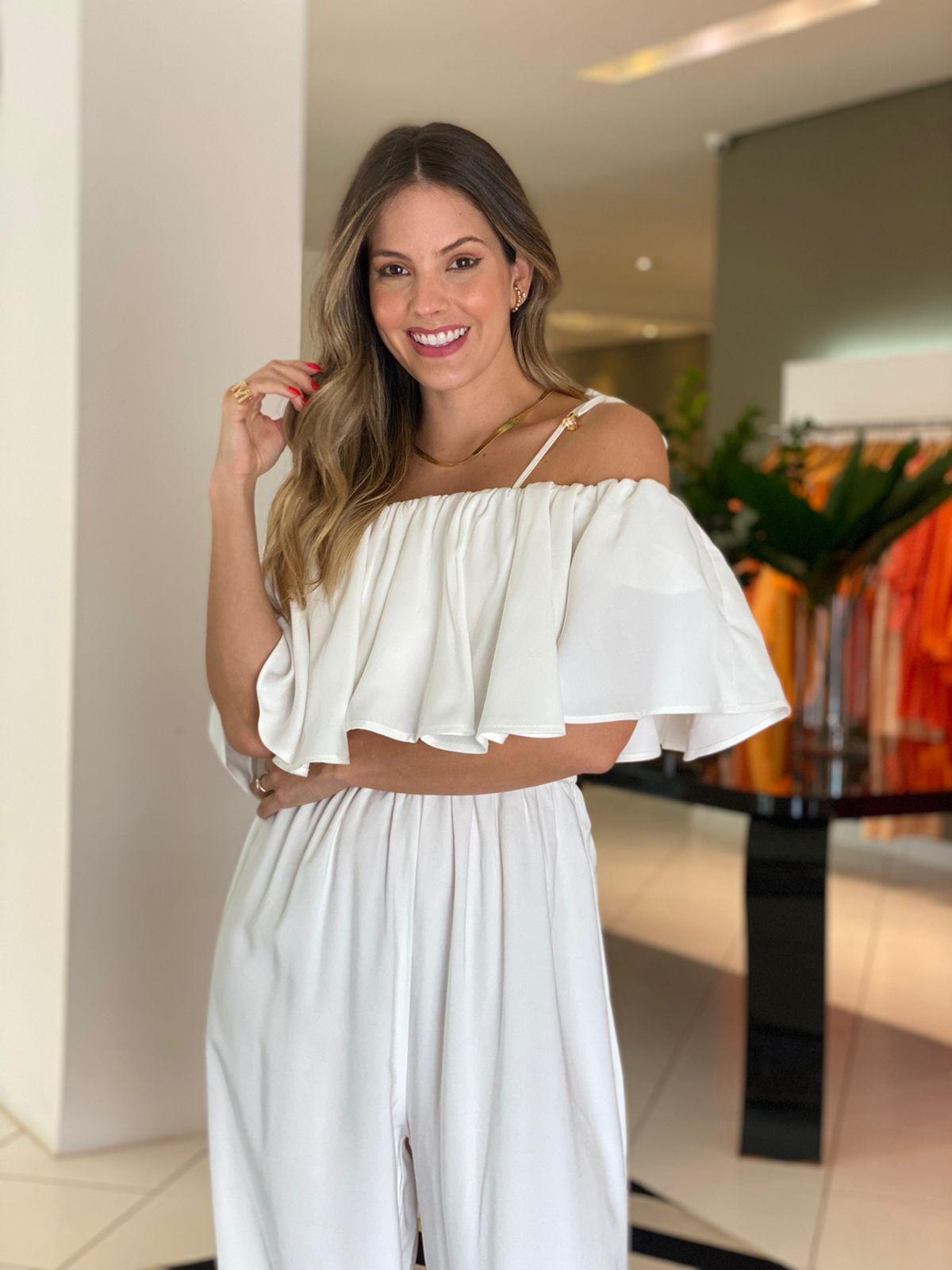 Macacão Adriana c/ babado Off white -