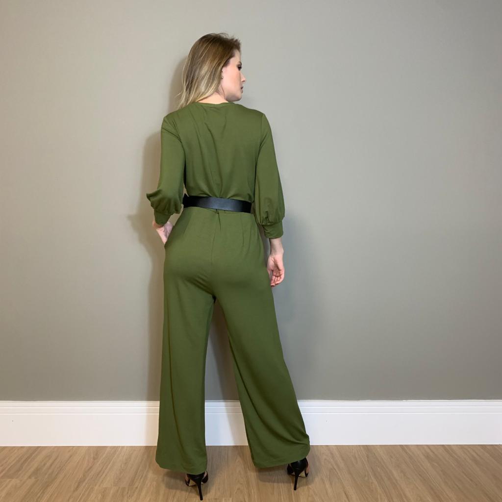 Macação pantalona dect transp. c/ cinto Verde -