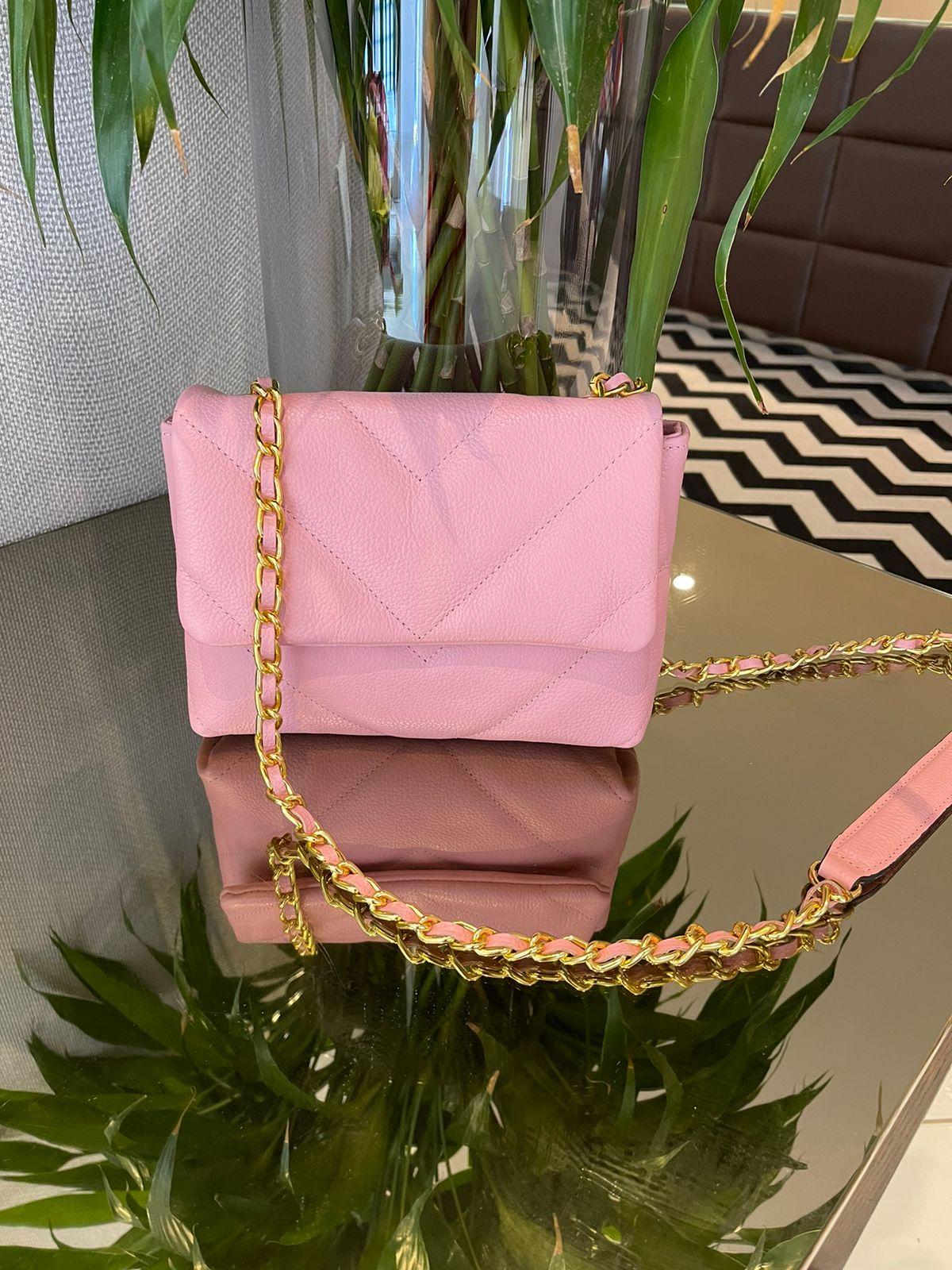 Mini bag couro matelasse V Rosa -