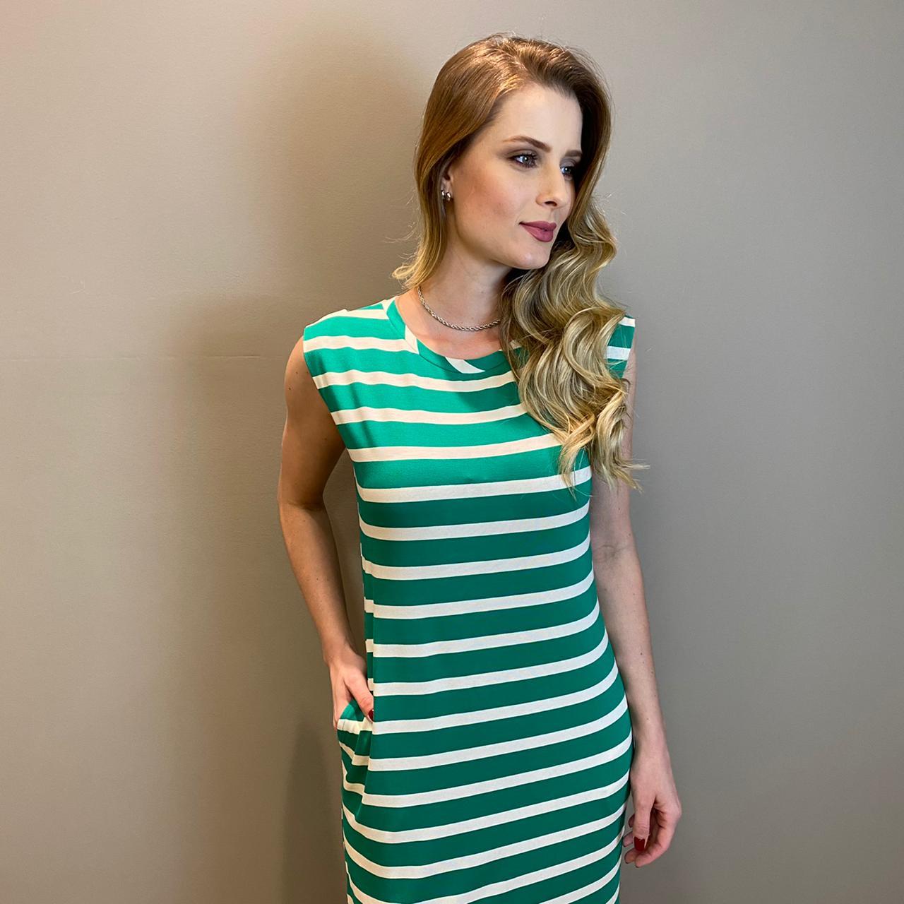 Muscle dress c/ bolsos e fenda Verde -