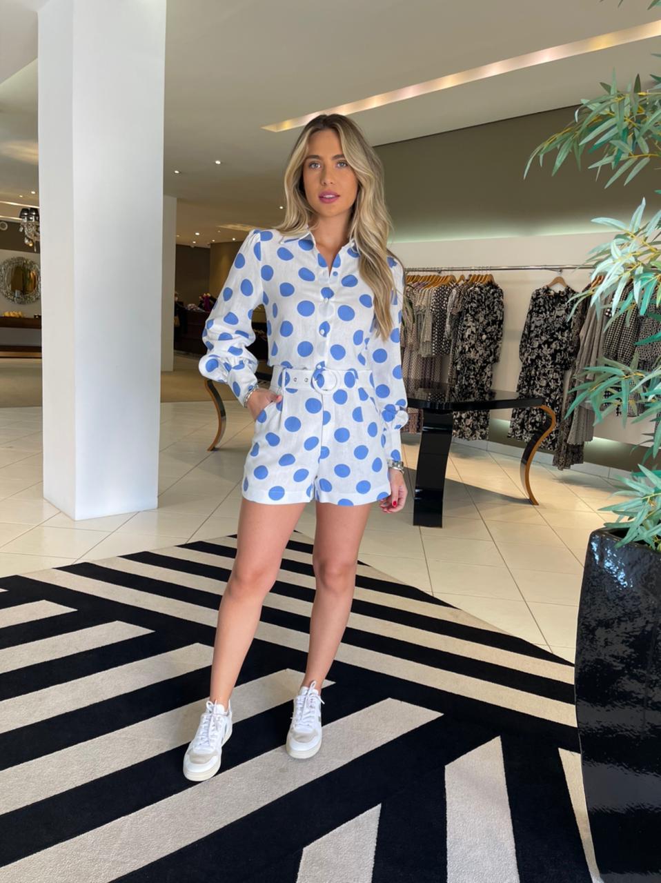 Shorts c/ cinto em linho polka Azul -