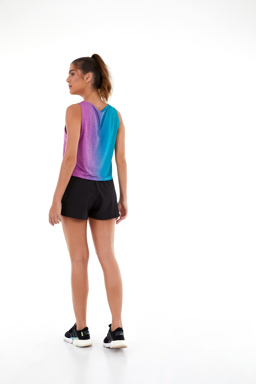 Shorts tecnospan ziperes holograficos Preto -