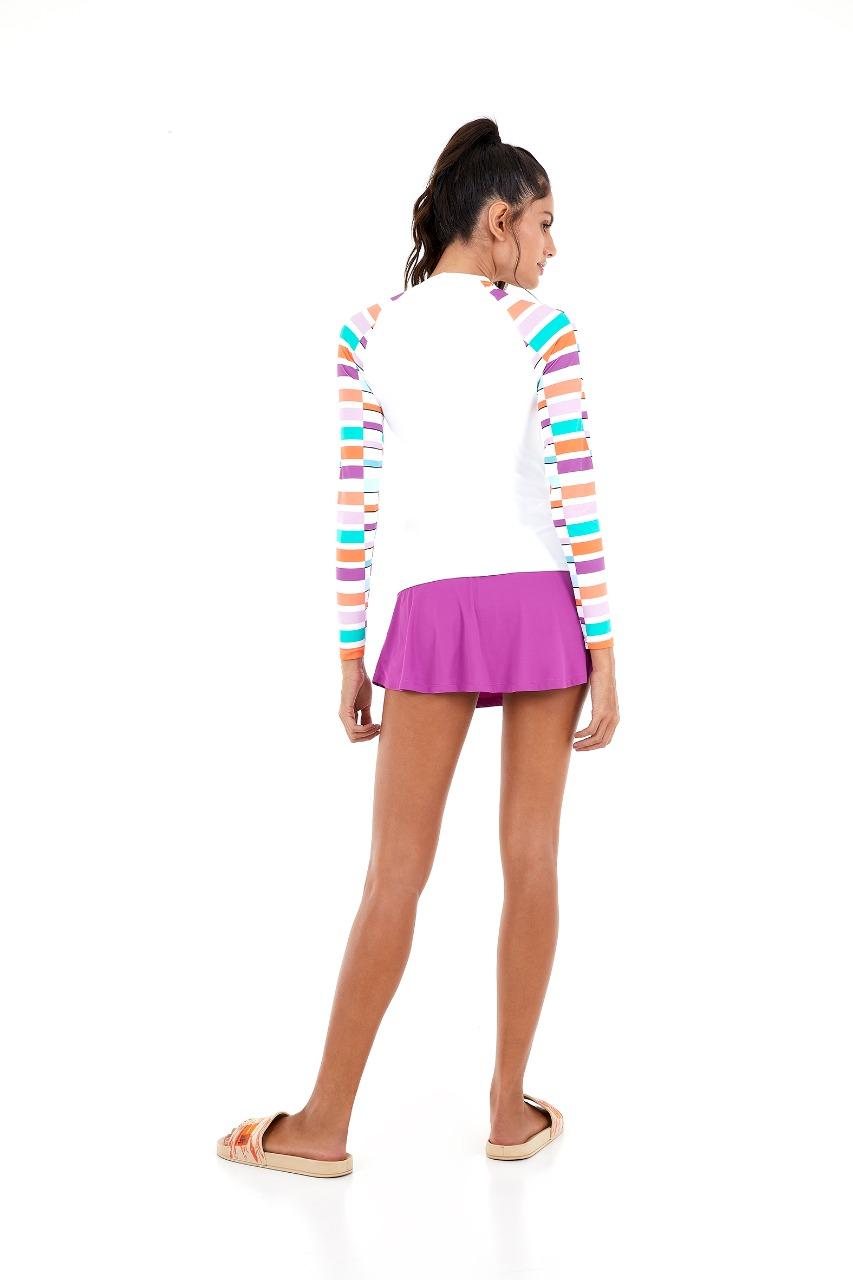 T-shirt fax mg longa pop geometric Branco -