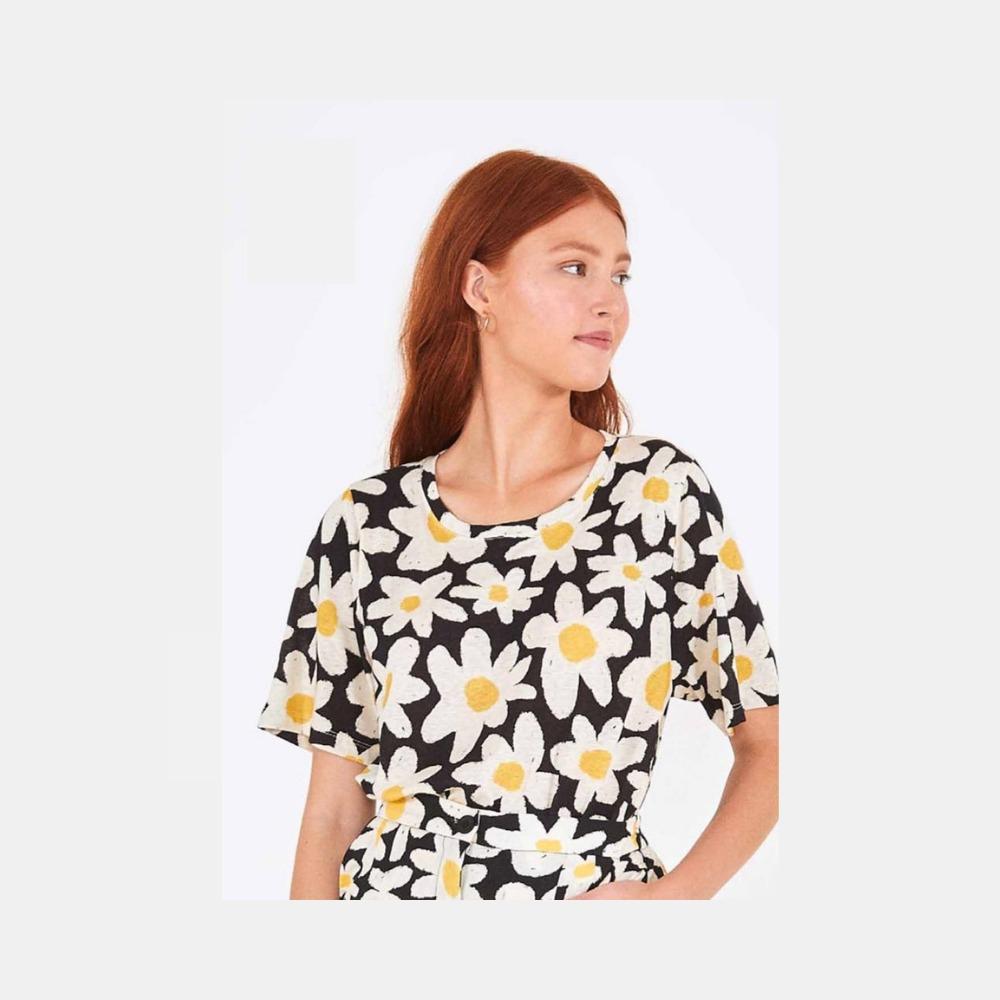 T-shirt flor preto